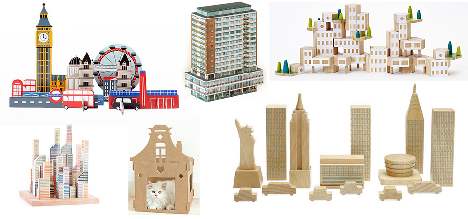 Building blocks cities architecture souvenirs