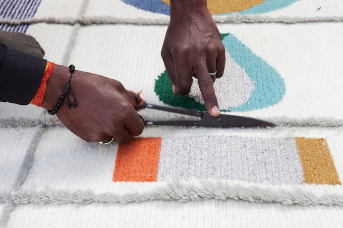 Handmade rugs by Doshi Levien for Nanimarquina woven wool embroidery