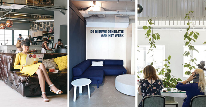 Interior design trends for the office #interior #design #interiordesign #styling #work #green #plants #couch #woman #yellow #laptop #business #millenial #design