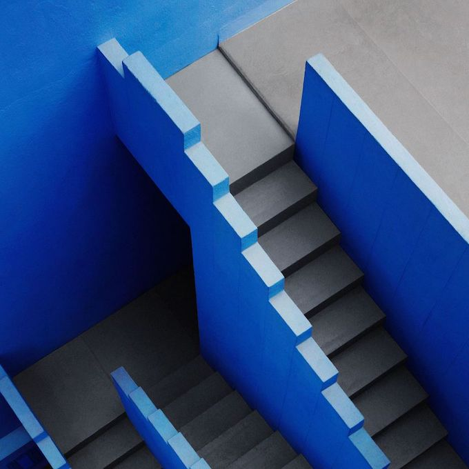 calpe alicante wandkraft limited edition  ivo rikkert #lamurallaroja #spain #architecture #calpe #blue #stairs