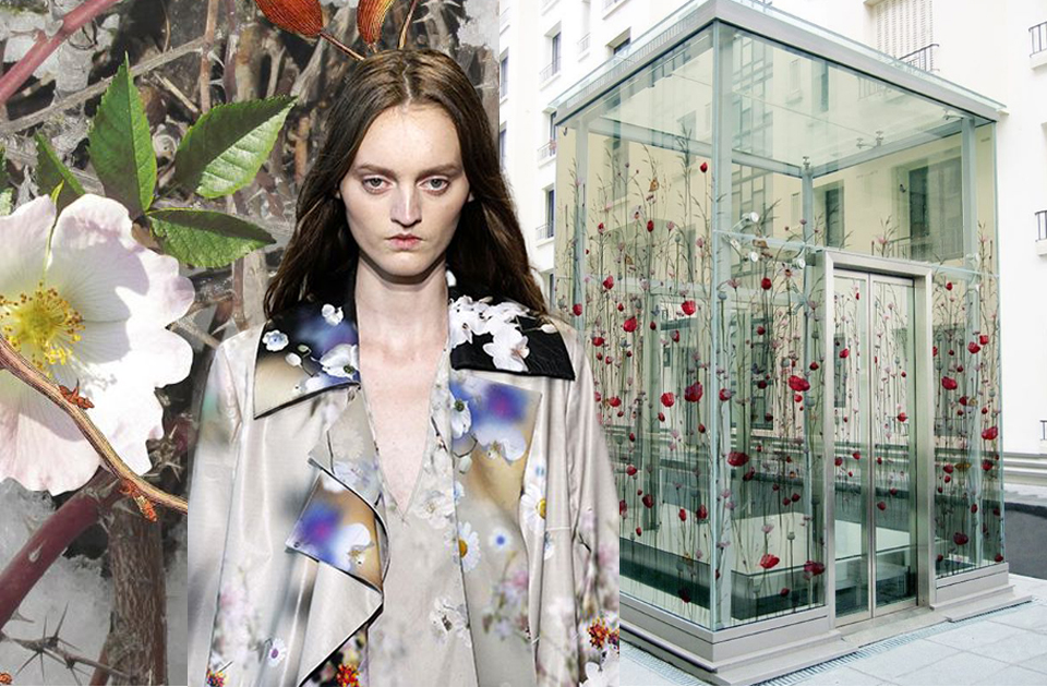 floral digital printing model jacob schlaepfer fashion haute couture decorated glass house london