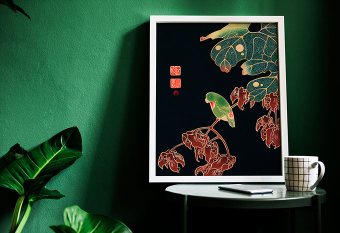 green japan frame illustration createyourown cre8