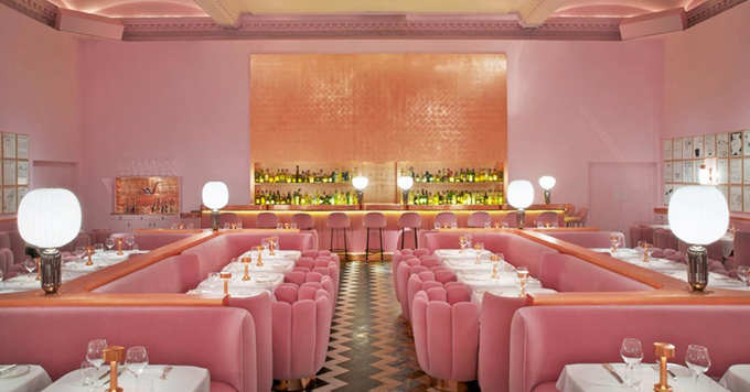 madhavi sketch restaurant london interior design color pink