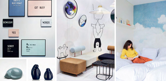 Interior design trends on maison et objet in paris with theme work #clouds #sky #woman #reading #bed #design #birds #vitra #pigeons #frames #interiordesign #interiorstyling #cosy