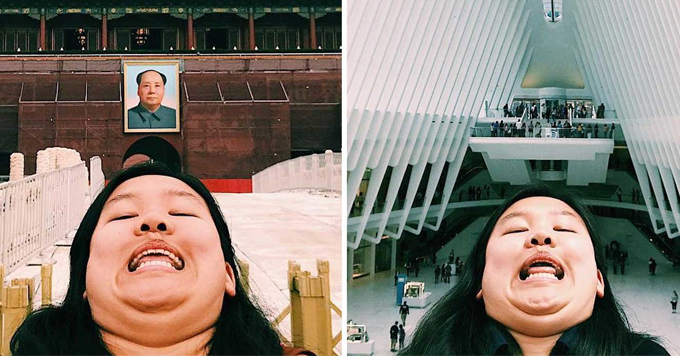 michelle lui chin travel blob picture china louvre face selfie museum