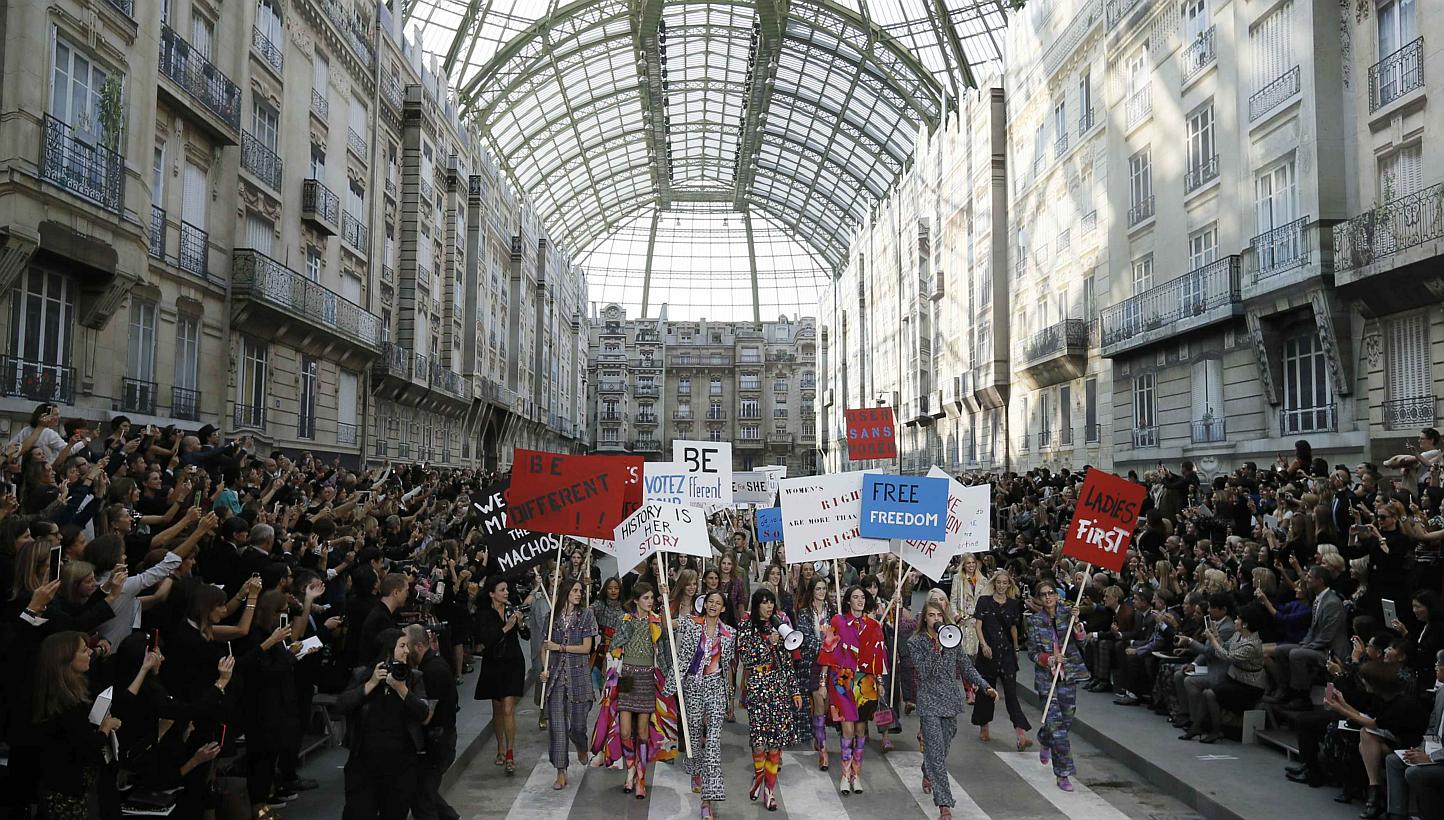 paris protest chanel 2015 runway