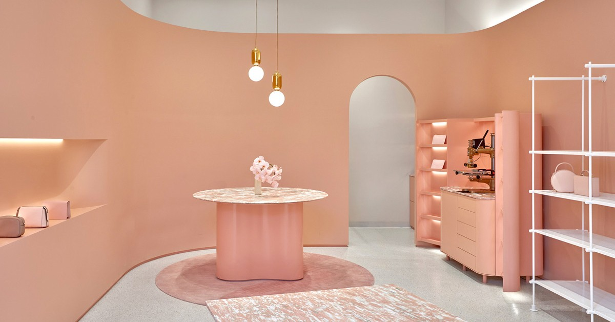 pink arches retail design colour luxury