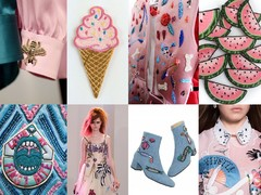 v.l.n.r. en v.b.n.b.: Gucci AW15 photography by Federico Ferrari, ijsje via etsy.com, Virginia Burlina via flickr.com, watermeloenen via etsy.com, Roberta Einer SS16, Marc Jacobs Resort 2017 via theimpression.com, schoenen met patches via Macon&Lesquoy Vivetta AW16