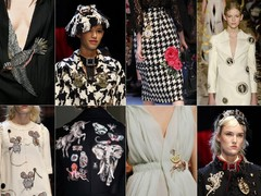 v.l.n.r. en v.b.n.b.: Gucci AW15, (2 en 3) Dolce & Gabbana AW16 Ready-to-Wear, Valentino SS16 Couture, Dolce & Gabbana AW16 Ready-to-Wear, Valentino SS16 Menswear, Schiaparelli SS16 Couture, Dolce & Gabbana AW16 Ready-to-Wear